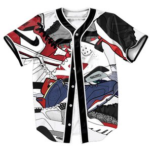 Atacado-Jersey com Único Breasted Hip Hop Streetwear camisa de beisebol dos homens de roupas esportivas tops Estilo Verão Casual