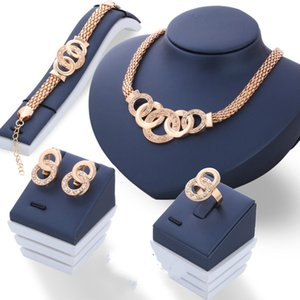 Fashion Luxury Crystal Handcuffs Necklace Earring Bracelet Ring Set Metal Gold Plated Rhinestone Unique Eight Circle Cross Jewelry Sets