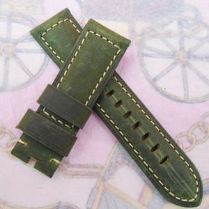 PAMLUNMINOR RADIOMIR 시계 용 26mm 125 / 75mm 고급 고품질 녹색 누벅 송아지 가죽 스트랩 Watchband