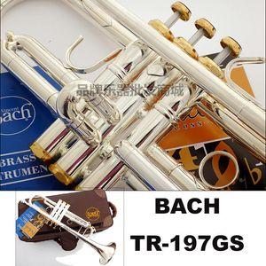 Al por mayor-Libre Bach trompeta TR-197GS Placa cuerpo de la tubería de plata chapado en oro llaves talladas trompeta gota bB instrumento trompeta ajustable