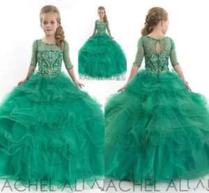 2020 RACHEL ALLAN Green Girl's Pageant Dresses Organza Beads Crystal Floor Length Girl's Party Dresses Flower Girl's For Birthday Party 1186