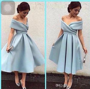 2018 New Günstige Arabisch Short Prom Dresses Schulterfrei Geraffte Drapierte Sky Blue Satin Tee Länge Party Kleid Plus Size Cocktail Abendkleider
