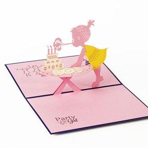 Оптово - приглашение на день рождения 3D детские карточки девочек творческий декупаж открытки юбилей подарок бесплатная доставка