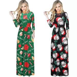 Европейские женские платья плюс размер женской одежды макси ну вечеринку повседневное платье с длинными рукавами печать рождественские платья женские длинные платья