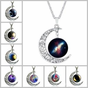 grandi ciondoli collane per donna gioielli in argento marca dichiarazione di moda collana di vetro galassia collares collana pendenti maxi luna collane