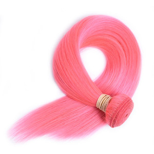 ELIBESS HAIR- Pre-Colored 인간의 머리카락 직조 60g 당 핑크 색상 3 사진 레미 헤어 번들 10-24inch