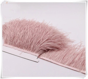 Wholesale 10yards lot Dust pink 5-6 inch in width ostrich feather trimming fringe for dress sewing crafts skrit supply