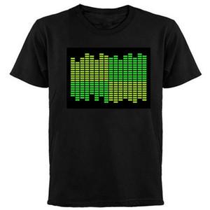 DC6V Ses Inverter Harika EL T-Shirt Paneli In 2016 ile Ekolayzer El Tasarım Led Panel ile L Beden Siyah Renk Yuvarlak Yaka Gömlek