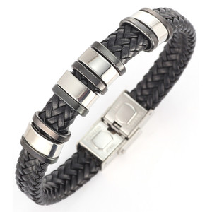 Кожаные браслеты Металлический браслет манжета для мужчин из нержавеющей стали Браслеты браслеты Мужские браслеты Br007 ювелирные изделия Рождественский подарок