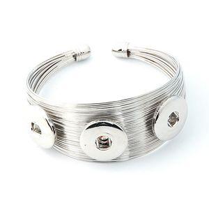 NO.t13 Vendita calda Snap Bangles argento placcato alta qualità fai da te gioielli snap bottoni a pressione