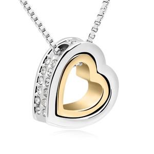 Высокое качество двойной сердце ожерелья подвески с элементами Swarovski кристаллы из Swarovski подарки на День Святого Валентина