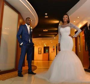 2017 African Nigeria Mermaid Wedding Dresses Sheer Jewel Neck Long Sleeves Crystal Beaded Pearls Sweep Train Custom Formal Bridal Gowns