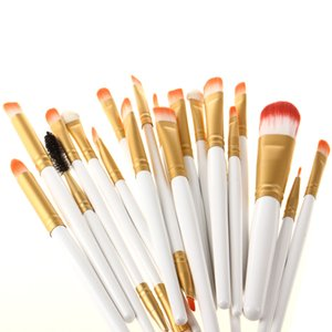 Toptan 20 Adet Makyaj Fırçalar Beyaz ve Altın Renkler Set Vakfı Göz Farı Eyeliner Dudak Fırçası Aracı