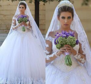 2017 nouvelle robe d'arabe moderne robe de mariée robes de mariée jeux de dentelle dentelle appliques perlé gonflé tulle Train Train Plus Taille Taille Robes de mariée formelle
