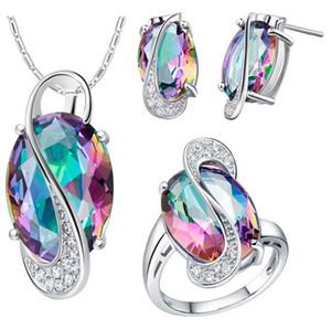 I monili di nozze per le spose Jewelry 925 Sterling Silver colorati orecchini collana nuziale Anello Set HJIA844