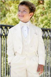 الجملة - Tailcoat عصري كيد كاملة مصمم الشق التلبيب بوي بدلة الزفاف ملابس الأولاد حسب الطلب (سترة + سروال + التعادل + سترة)