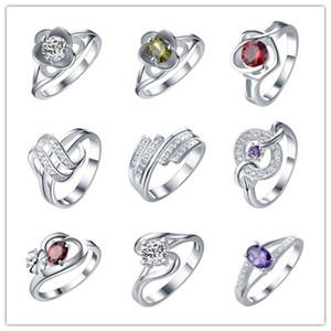 2016 estilo misto anel de zircão 925 moda jóias de prata de alta qualidade doce e romântico presente do dia dos namorados por atacado barato 9 pçs / lote