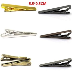 Necktie Clips 5.5*0.5cm 6 Colors Plating copper For Business man Necktie father Tie Clip mens tie clip Christmas gift