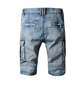 Washed Men Jeans Summer Biker Jean Shorts Knee Length Pants Pockets Design Zippers Patters Light Blue Jeans