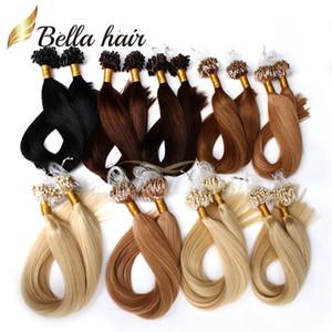 """Extensões de Loop Top Quality indiana Virgin Humano Micro Cabelo Anel 18 """"-24"""" # 1 # 2 # 4 # 27 # 24 # 33 # 1b Hetero 1g / vertente, 100g / set cabelo Bella"""
