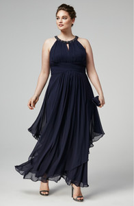 Stunning Beaded Plus Size Prom Dresses Halter Neckline Pleated Formal Dress Ankle Length Chiffon Evening Gowns