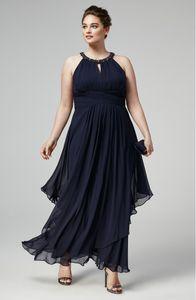 멋진 Beaded 플러스 사이즈 댄스 파티 드레스 홀터넥 넥 라인 Pleated 정장 드레스 발목 길이 쉬폰 이브닝 가운