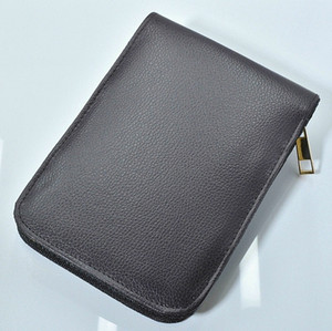 Bolsas de lápiz de alta capacidad de cuero negro / marrón con cremallera de alta calidad para bolígrafo / pluma de la fuente / pluma funcional Caja de lápices conveniente