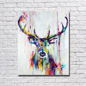 1Peices Wall Canvas Art Abstract Deer Pintura Sala de estar Decoración de la Pared Imágenes Pintado A Mano Agradable Animal Pintura Al Óleo No Enmarcado