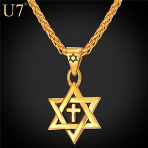 Único Magen Hot Estrela de David Pingente Cruz Colar Mulheres Cadeia 18 K Banhado A Ouro de Aço Inoxidável Dos Homens Israel Colar Judaico P819