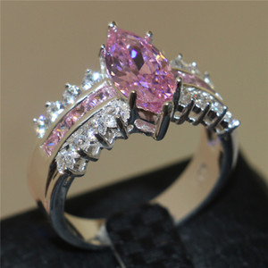Victoria Wieck Marquise Jewellery Cut Wedding Diamond Sz Rings Engagement Zirconia 925 Sterling Silver Cubic Pink Sapphire Simulated 5- Svmq