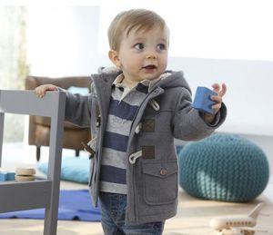 Autumn Winter Europe Fashion Baby Boys Jacket Coat Kids Hooded Warm Outwear Jacket Coats Children Babies Clothing Gray Brown 12540