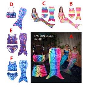 2016 YENI 3 ADET / TAKıM Kız Çocuklar Denizkızı Kuyruğu Swimmable Bikini Set Mayo Mayo Yüzme Kostümleri Ücretsiz Nakliye A-0355