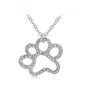 Colgante de cristal Collares Gatos Perros Pata Hollow Out Full CN Diamante Colgante Collar Mascotas Joyería de moda Chapado en plata Caliente Nueva llegada