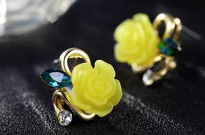 Schönheit Ohrringe Legierung Rose Blume Ohrstecker mit Kristall Nette Harz Blume Ohrstecker Schmuck Frauen Mädchen Hochzeit