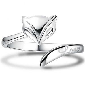 Gümüş Band Yüzük Sıcak Satış Fox Parmak Yüzük Kadınlar Kız Düğün Parti Için Açık Boyutu Moda Takı Toptan Ücretsiz Kargo 0105WH