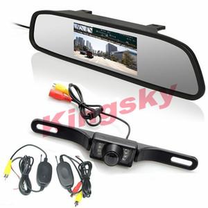 """Kit de visión trasera inalámbrica para automóvil 4.3 """"Monitor LCD para espejo de coche + 7IR LED Noche Visison que invierte la cámara"""