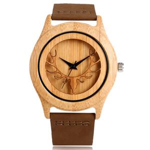 Nueva Llegada Creativa Naturaleza Bambú De Madera Ciervos Elk Head Reloj de Pulsera Analógico Banda de Cuero Genuino Hombres Mujeres Regalo Casual Reloj