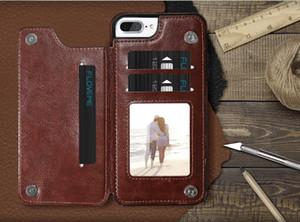 Custodia Portafoglio di lusso per iPhone 6 6S Plus X Tipo di supporto in pelle Porta carte Kickstand Flip Cover posteriore per iPhone 7 7 Plus