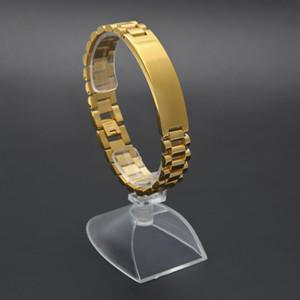 21 cm * 1.5 cm 24 K Altın Kaplama Hiphop Watchband Başkan Kayışı Taç Ayarlanabilir Bilezik Paslanmaz Çelik Büyük Katı Ağır Bilezik Bileklik