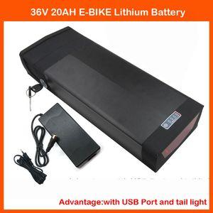 1000W 36V 20AH Ebike Rear Rack Batería 36V Batería de litio con 30A BMS 5V 1A Puerto USB y luz trasera 42V 2A Cargador