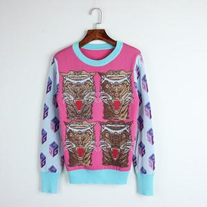 Spedizione gratuita prugna / blu patchwork maglioni da donna farina tigre testa stampa pullover donne blusas de inverno feminina DH065