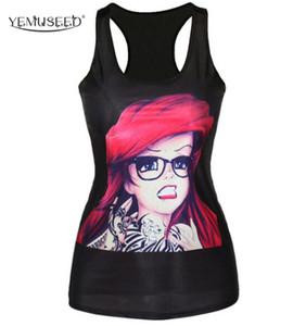 T-shirt noir gros-YEMUSEED femmes nouveau The Little Mermaid gilet camisole Ariel Cartoon imprimé Sexy mode punk tops