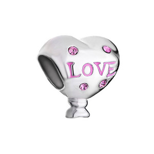 Ladies jewelry pink crystal heart love mom mother European bead big hole charms bracelets necklace for Pandora