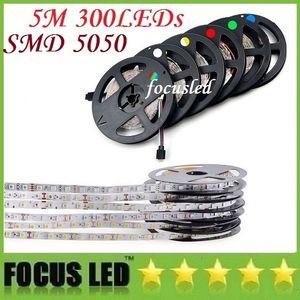 водонепроницаемый IP65 300 LED 5 м 5050 SMD один цвет Гибкие светодиодные полосы света холодный белый теплый белый 60 светодиодов/м светодиодные ленты
