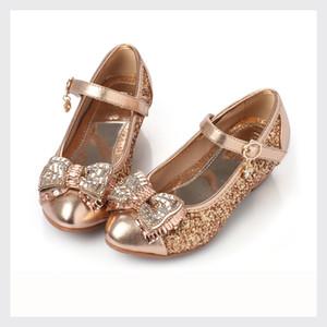 Crianças Sapatos Novo Estilo Dourado Prata Pink Currinho Cristal Brilhante Lantejoulas Menina Bave Saltos PU Couro Crianças Meninas Princesa Tênis