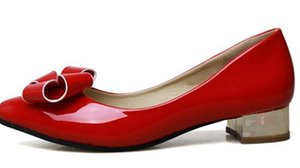2016 nuove scarpe con fiocco bocca poco profonda con piccole scarpe rosse a punta 313233