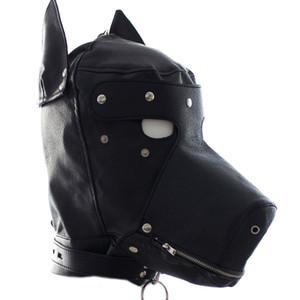 Pares flertando Couro Máscara do cão filhote de cachorro capa completa para o partido BDSM Toy HD002