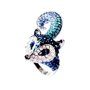 Zarif tasarım hayvan tilki kokteyl yüzükler kadınlar için bildirimi takı ile mavi cz elmas nişan yüzüğü femme, RN-384B