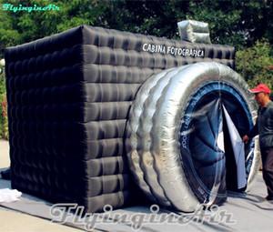 3,5 m aufblasbares Würfelzelt White Photobooth Black Inflated Photo Booth mit Kreiseingang