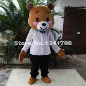 Kostenloser Versand Weißer Teddybär Moive Kostüm Maskottchen Cartoon Kostüm Charakter